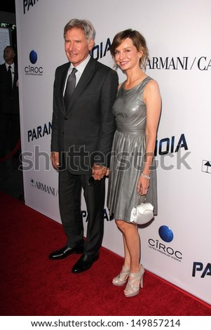 "Harrison Ford and Calista Flockhart at the ""Paranoia"" US Premiere, Directors Guild of America, Los Angeles, CA 08-08-13"