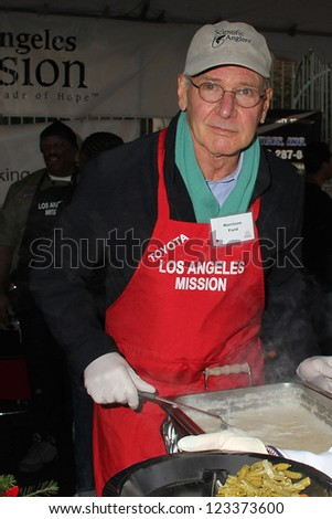 Harrison Ford at the Los Angeles Mission Christmas Eve For The Homeless, Los Angeles Mission, Los Angeles, CA 12-24-12 - stock photo