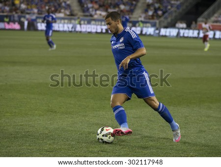 Harrison, NJ USA - July 22, 2015: Eden Hazard controls the ball during game between New York Red Bills and Chelsea FC at Red Bulls arena - stock photo
