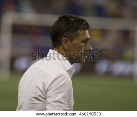 Harrison, NJ USA - July 27, 2016: Estudiantes coach Nelson Rivas attends friendly game between FC Inter Milan & Estudiantes de La Plata at Red Bulls Arena ended in tie 1 -1