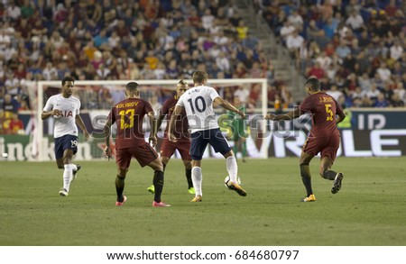 Harrison, NJ USA - July 25, 2017: Harry Kane (10) of Tottenham Hotspur controls ball during International Champions Cup game against AS Roma on Red Bulls Arena Roma won 3 - 2