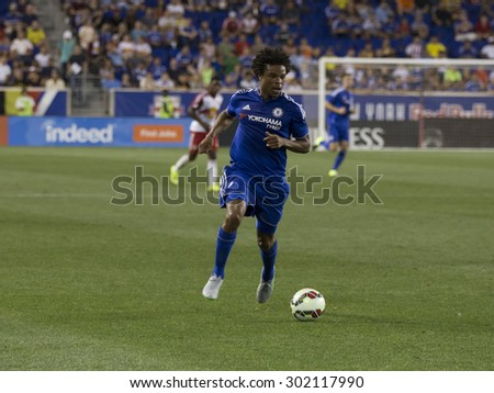 Harrison, NJ USA - July 22, 2015: Loic Remy (8) controls the ball during game between New York Red Bills and Chelsea FC at Red Bulls arena - stock photo