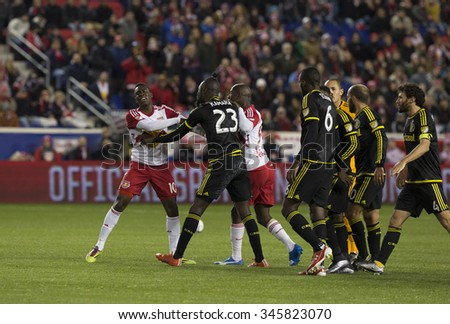 Harrison, NJ USA - November 29, 2015: Skirmish during MLS Eastern Conference Final between New York Red Bulls and Columbus Crew SC at Red Bulls Arena - stock photo