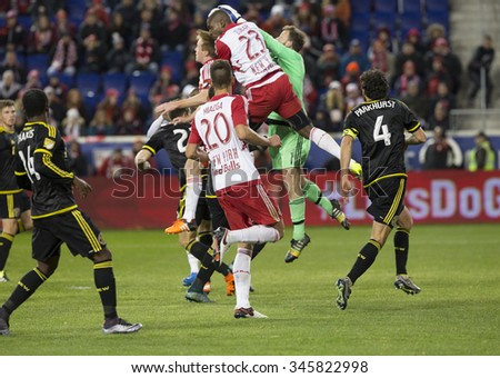 Harrison, NJ USA - November 29, 2015: Skirmish in Columbus Crew SC penalty box during MLS Eastern Conference Final against New York Red Bulls - stock photo