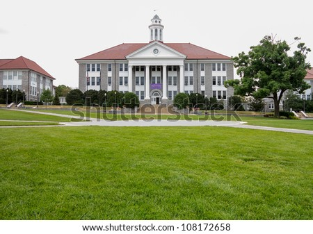 HARRISONBURG, VA - JULY 11: Wilson Hall at James Madison University, Harrisonburg, Virginia on July 11, 2012. The hall is named after President Wilson and completed in 1931 - stock photo
