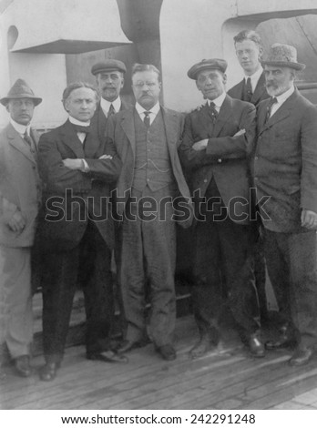 Harry Houdini with Theodore Roosevelt and others aboard the Hamburg-American liner Imperator in 1914.