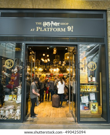 Harry Potter collectibles at Kings Cross station in London - LONDON / ENGLAND - SEPTEMBER 14, 2016