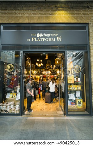 Harry Potter shop at Kings Cross station in London - LONDON / ENGLAND - SEPTEMBER 14, 2016