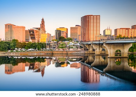 Hartford, Connecticut, USA downtown city skyline on the river. - stock photo