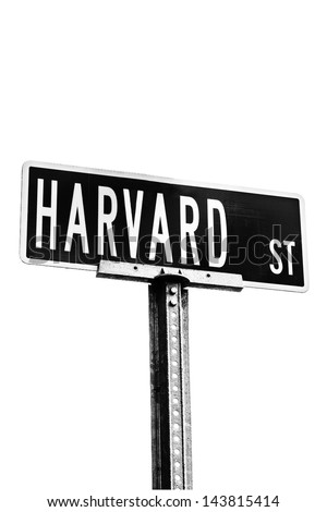 Harvard street sign isolated against white background. Black and white high contrast image. Location: Harvard University, Cambridge, MA - stock photo