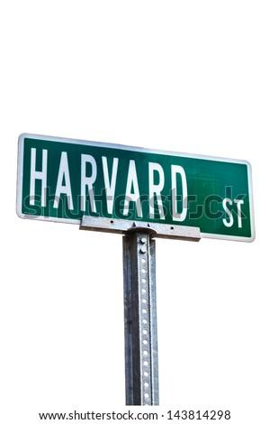 Harvard street sign isolated against white background. Location: Harvard University, Cambridge, MA - stock photo