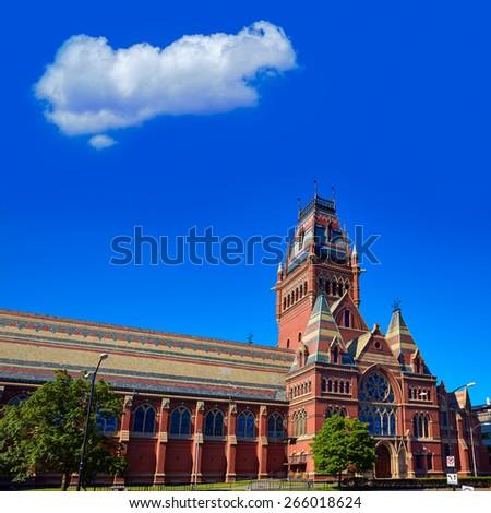 Harvard University historic building in Cambridge at Massachusetts USA - stock photo