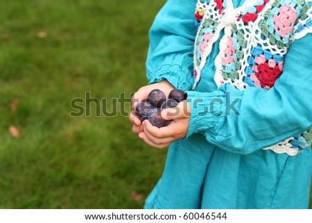 Harvest of fresh fruits in girl's hands - stock photo