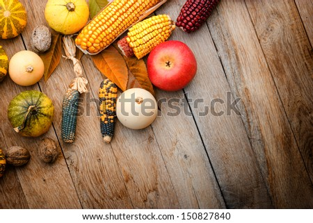 Harvest on a table - stock photo