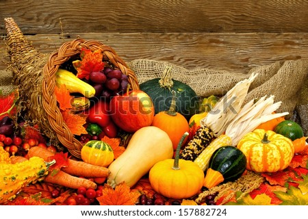 Harvest or Thanksgiving cornucopia filled with vegetables against wood background - stock photo