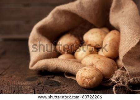 Harvest potatoes in burlap sack on rustic background - stock photo