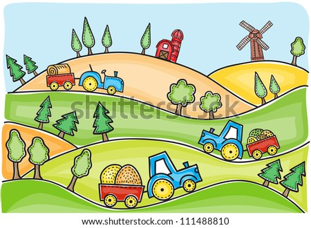 Harvest time landscape and tractors drawing - hand-drawn illustration - stock photo