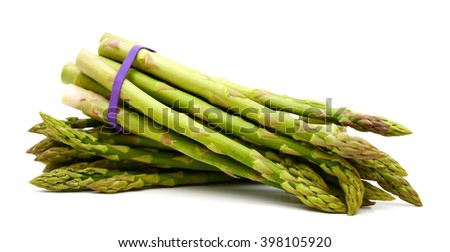 harvested asparagus on white background  - stock photo