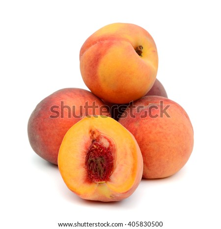 harvested peaches isolated on white  - stock photo