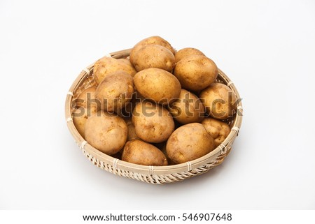 Harvested potatoes in a basket