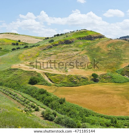 Harvested Wheat Field on the Hills in Sicily