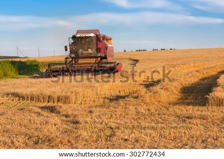 Harvester gathers the ripe barley on the field
