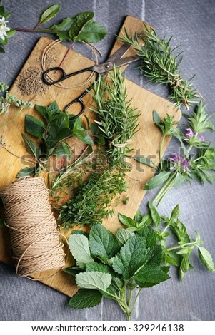 harvesting herbs for winter, still life, top view - stock photo