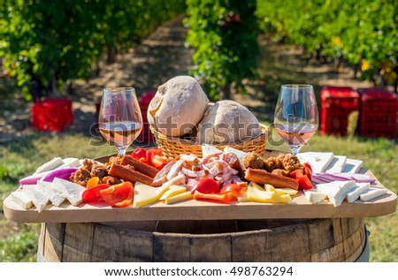 Harvesting season traditional Romanian food plate with cheese, bread, sausages,  onions and red wine in glass in vineyards