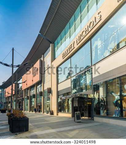 Harvey Nichols, Manchester, UK - October 4: The popularity of the Corn Exchange in Manchester on October 4th 2015 has spurred on a redevelopment process for the area. - stock photo