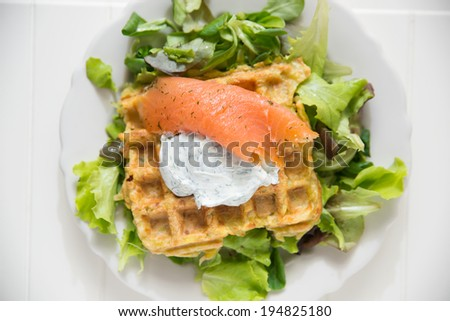 hash browns and smoked salmon  - stock photo