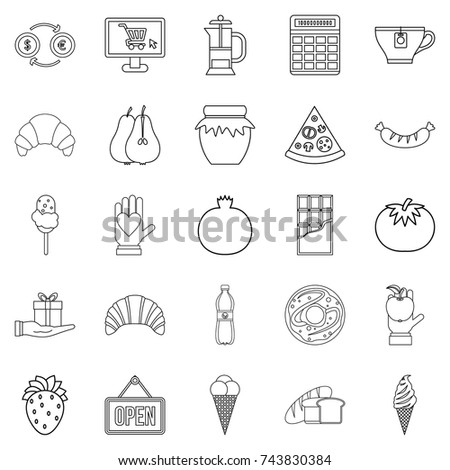 Hash house icons set. Outline set of 25 hash house  icons for web isolated on white background