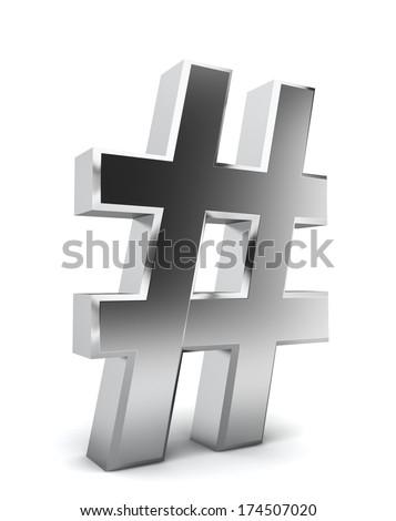Hash symbol. 3d illustration on white background  - stock photo