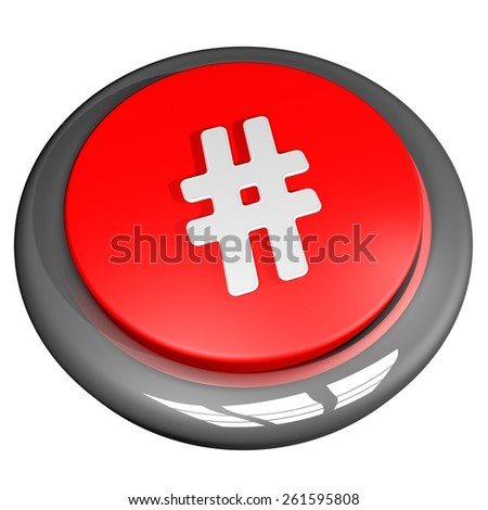 Hashtag button, isolated over white, 3d render - stock photo