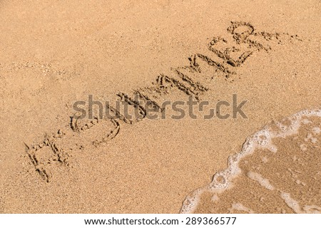 Hashtag Summer Written On Sandy Summer Beach