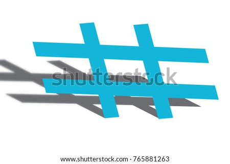 Hash Tag Symbol Design Blue Color Shadow Stock Illustration