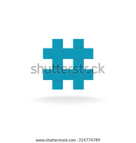Hashtag Symbol Four Crossing Overlapped Lines Stock Illustration
