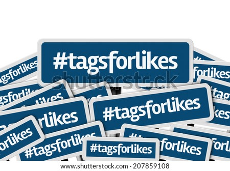 Hashtag: Tags For Likes written on multiple blue road sign - stock photo