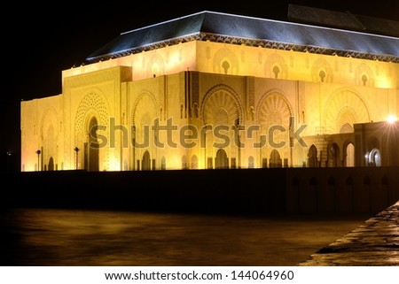 Hassan II mosque Casablanca Morocco at night