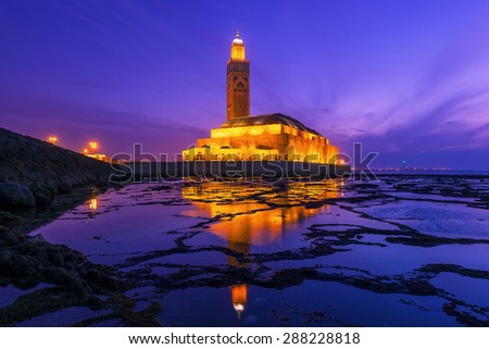 Hassan II Mosque during the sunset in Casablanca, Morocco - stock photo