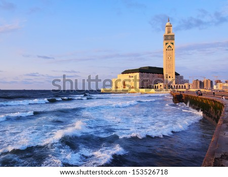 Hassan II Mosque during the sunset in Casablanca, Morocco, Africa