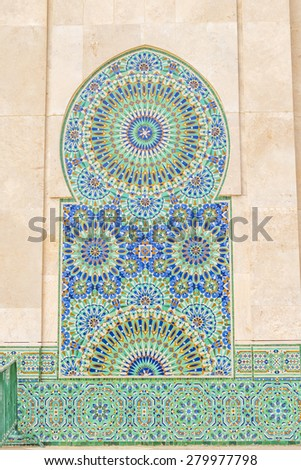Hassan II Mosque in Casablanca, Morocco - mosaic - stock photo