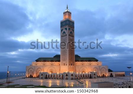 Hassan II Mosque in Casablanca, Morocco, North Africa - stock photo