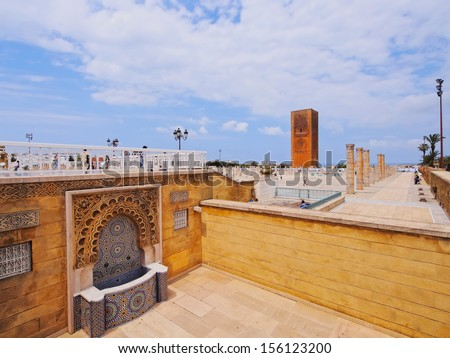 Hassan Tower - minaret of an incomplete mosque in Rabat, Morocco, Africa - stock photo
