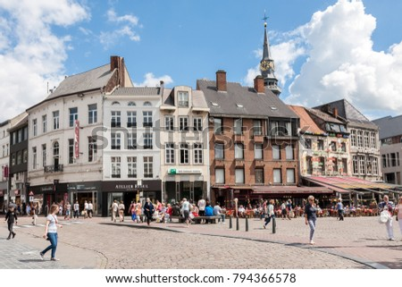 Hasselt, Belgium - 2017, July 20 : People walking on the main square of the town of Hasselt called Grote Markt in the Limburg province of Belgium