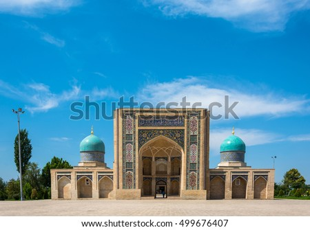 Hastimom beautiful mosque in a clear sunny day in Tashkent, Uzbekistan.