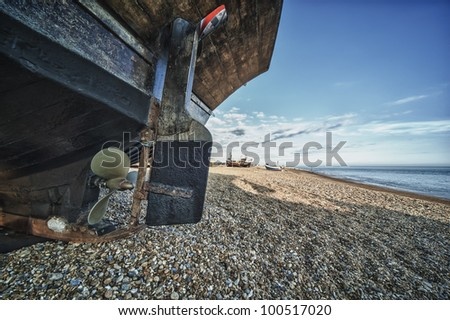 Hastings fishing boat on beachm in HDR - stock photo