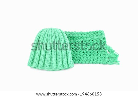 hat and scarf on a white background.
