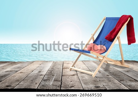 hat chair and pier  - stock photo