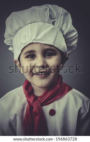 hat child dress funny chef, cooking utensils - stock photo
