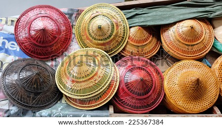 hat display on Asian street - stock photo